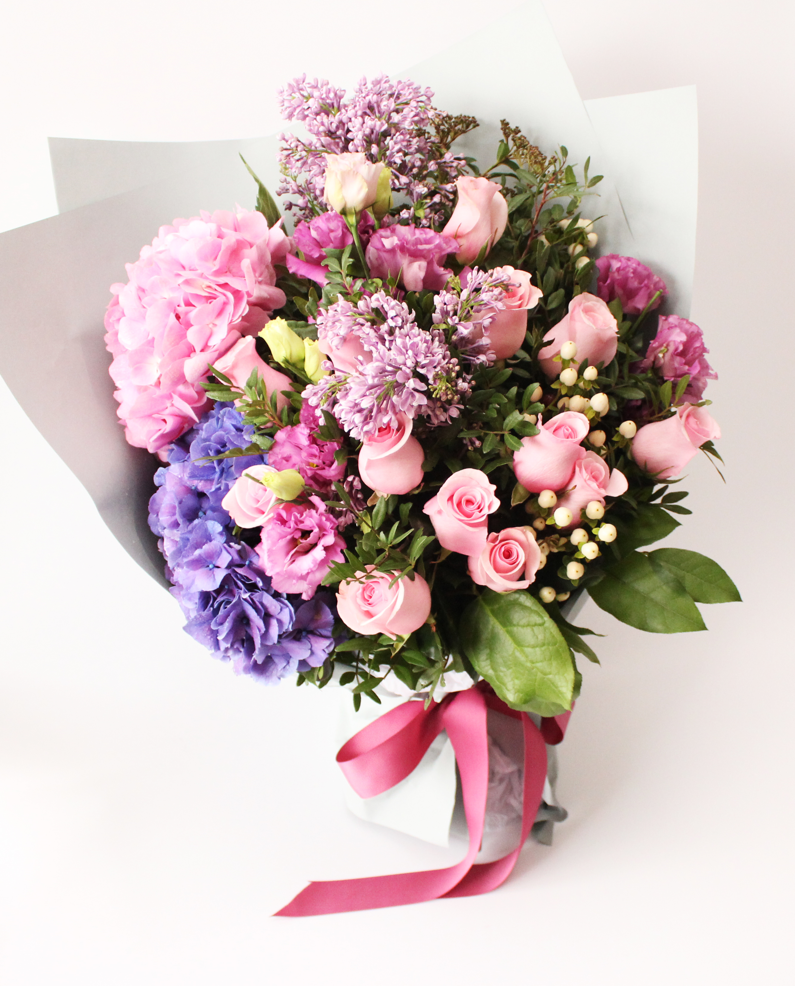 Pink Roses Hydrangea For Valentines Day